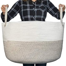 Luxury Little Nursery Storage Basket, Size XXXL :: 100% Cotton Rope Hamp... - $38.78