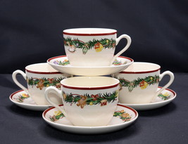 Spode Christmas Memories * 4 SETS CUPS & SAUCERS * Pine Bough, Toys, Unused - $44.99