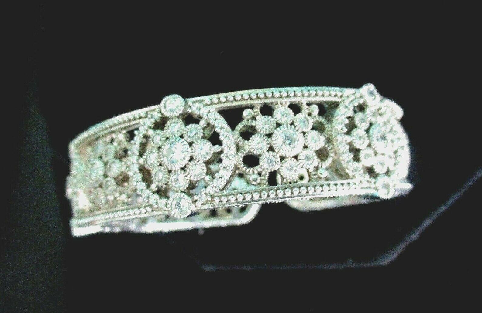 Judith Ripka Sterling Silver Diamonique Floral Hinged Cuff Bracelet AVG JR Box image 10
