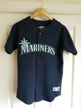 Majestic MLB Seattle Mariners Sewn Button Down Baseball Jersey Youth Large - $24.74