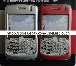 TECH HEADQUARTERS 2pc Case for BLACKBERRY CURVE 8300 Clear+Red HARD SHIE... - $7.90