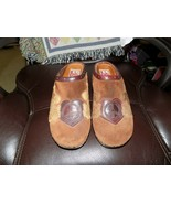Lucky Brand Fable Brown Suede Heart Peace Angel Wings Slip On Clogs Size... - $40.50