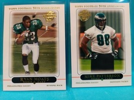 2005 Topps 50th Anniversary Mike Patterson #391 & Ryan Moats #425 Rookie... - $1.49