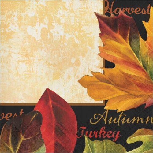 Autumn Expressions 16 Ct Luncheon Napkins Thanksgiving Leaves