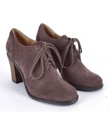 Lucky Brand Brown Suede Leather High Heel Lace Up Shoes Booties Womens 8... - $24.74
