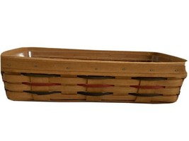 Longaberger Woven Traditions Bread Basket Green Red Stripe 1995 Plastic ... - $25.00
