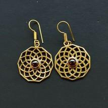 Women Earring Beautiful Designer Natural Garnet Earring Brass Gold Plate... - $6.99