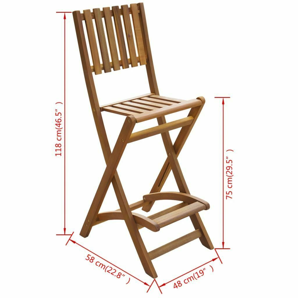 vidaXL Set of 2 Patio Wood Bar Stools Outdoor Acacia Wooden Chair Seats Garden image 4