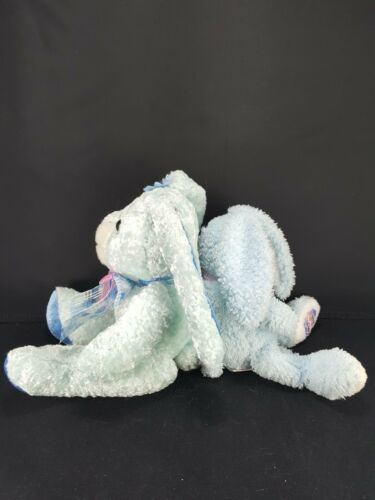 Lot 2 Easter Bunny Rabbit Blue White Pink bow Plush Stuffed Animal Beanie image 3