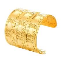 U7 Bracelet Stainless Steel Vintage Gold Color Engraved Elephant Wide Cu... - $20.69