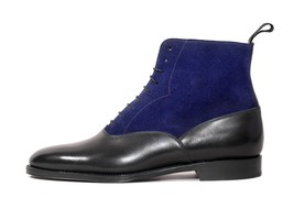 Handmade Men's Black & Blue High Ankle Leather & Suede Boots image 1