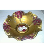 Goofus Glass Bowl Iris Flower Ruffled Edge Antique Red and Gold Paint Ci... - $16.99