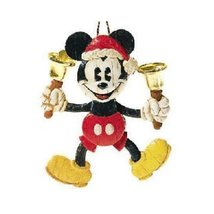 Hallmark QXD4125 Bell-Ringing Santa Mickey Mouse 2001 Keepsake Ornament - $16.83