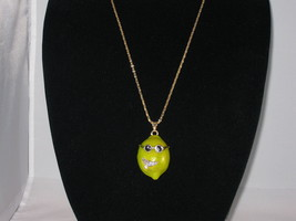 NEW Betsey Johnson Rhinestone Mr. Cool Lime Dude Pendant on lo... - $24.50