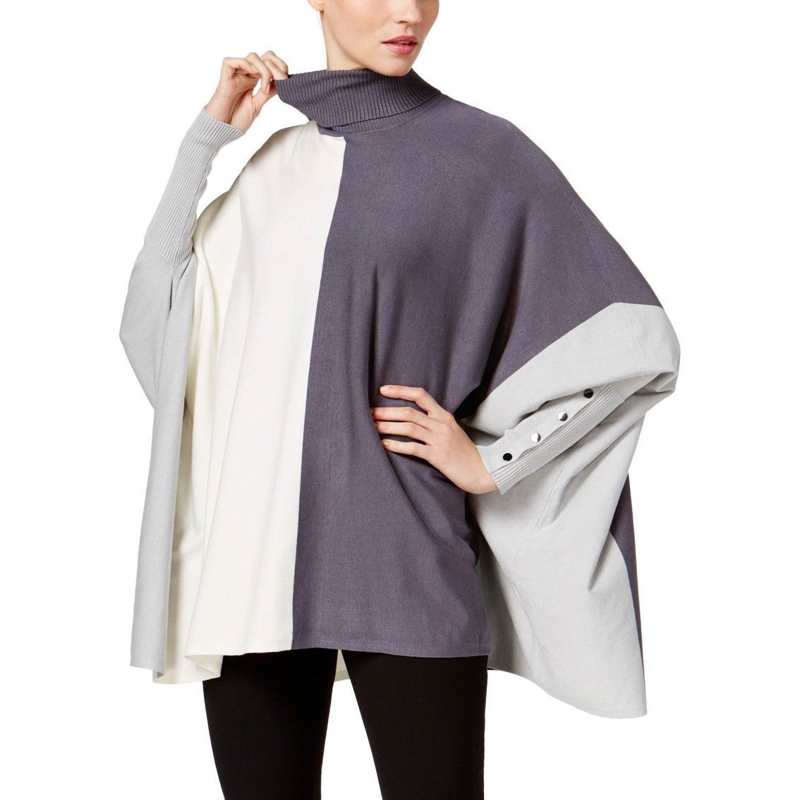 Primary image for Alfani Womens Colorblock Button Sleeve Turtleneck Poncho Sweater Grey Size M $59