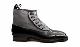 Men High Ankle Black & Gray Color Cap Toe Upper Suede Button Colure Leat... - $149.99+