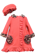 Bonnie Jean Little Girls 2T-4T Coral Bonaz Rosette Pocket Fleece Coat/Hat Set image 2