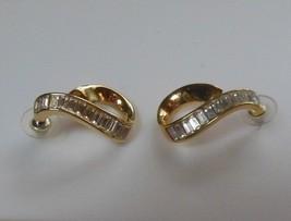 Vintage Swan Logo Gold-tone Swarovski Crystal Post Earrings - $64.35