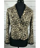 Dana Buchman Petite Leopard Print Short Jacket Coat Button Up Petite 8 M... - $55.55