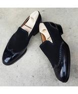 Men's New Handmade Black Shoes, Men's Leather Suede Wingtip Dress Fashio... - $159.97+
