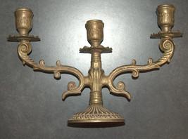 Judaica Shabbat Candlestick Candle Holder Candelabra Bronze Vintage Israel 1960s image 5