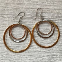 Estate Large Tricolor Metal Concentric Open Circle Dangle Earrings for P... - $13.99