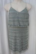 Adrianna Papell for E News Dress Sz 12 Slate Green Beaded Blouson Cockta... - $39.53