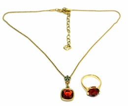 Auth Swarovski Gold Tone Chain Necklace with Ruby Pendant & Ruby Finger ... - $177.21