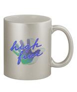 High Five #376 - Funny 11oz Silver Ceramic Coffee Mug Retro Vaporwave - $20.99