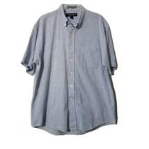 Chesterfield Men's Button Down Shirt ~ Sz L 16-16.5 ~ Blue & White ~ Str... - $24.74
