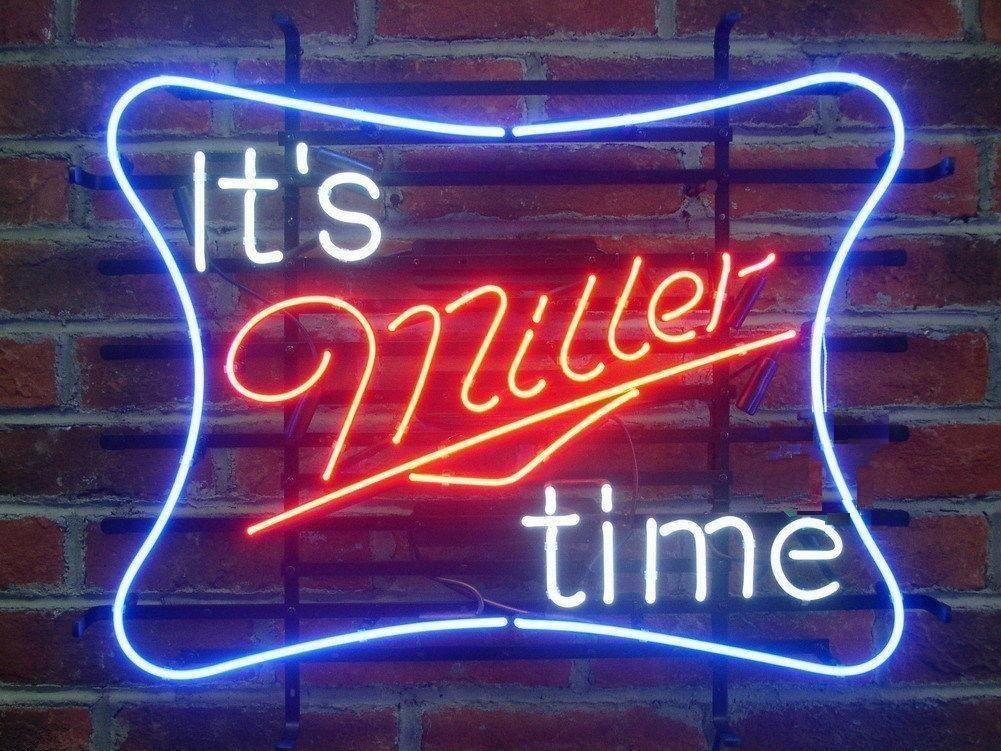 "New It's Miller Time Miller Lite Beer Lager Neon Sign 24""x20"""
