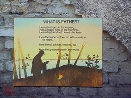 What Is Father Plaque Vintage Russ Berrie 1975 - $19.78