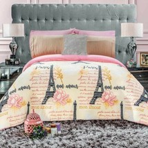 Eiffel Tower Paris Flannel Extra Soft Blanket Very Thick And Warm King Size - $89.10