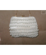 Vintage 1960's White Pearl Beaded Evening Bag Purse - $47.52