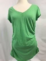 Caston Vert Col V Manche Courte Ruchetted Côtés T Shirt Femmes Taille L - $12.94
