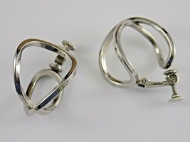 Vintage Signed Napier Infinity Love Knot Clip Screw Gold Tone Earrings 1... - $5.94