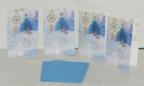 Hallmark XZH 644 1 Snowflakes Deer Gold Ribbon Christmas Card Package 4