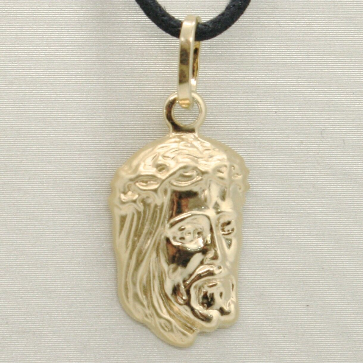 18K YELLOW GOLD JESUS FACE PENDANT CHARM 25 MM, 1 INCH, FINELY WORKED ITALY MADE
