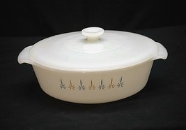 Old Vintage Candle Glow Anchor Hocking Fire King 1-1/2 Qt Loaf Pan Abstract Star - $39.59