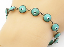 925 Sterling Silver - Vintage Turquoise Googly Eye Link Chain Bracelet -... - $29.83