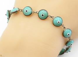 925 Sterling Silver - Vintage Turquoise Googly Eye Link Chain Bracelet -... - $29.83