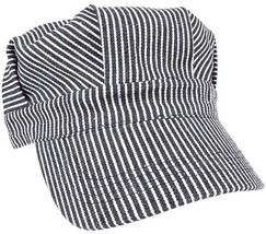 Train Conductor Hat Striped Engineer Cap Blue Hickory Stripe Railroad Mi... - $10.99