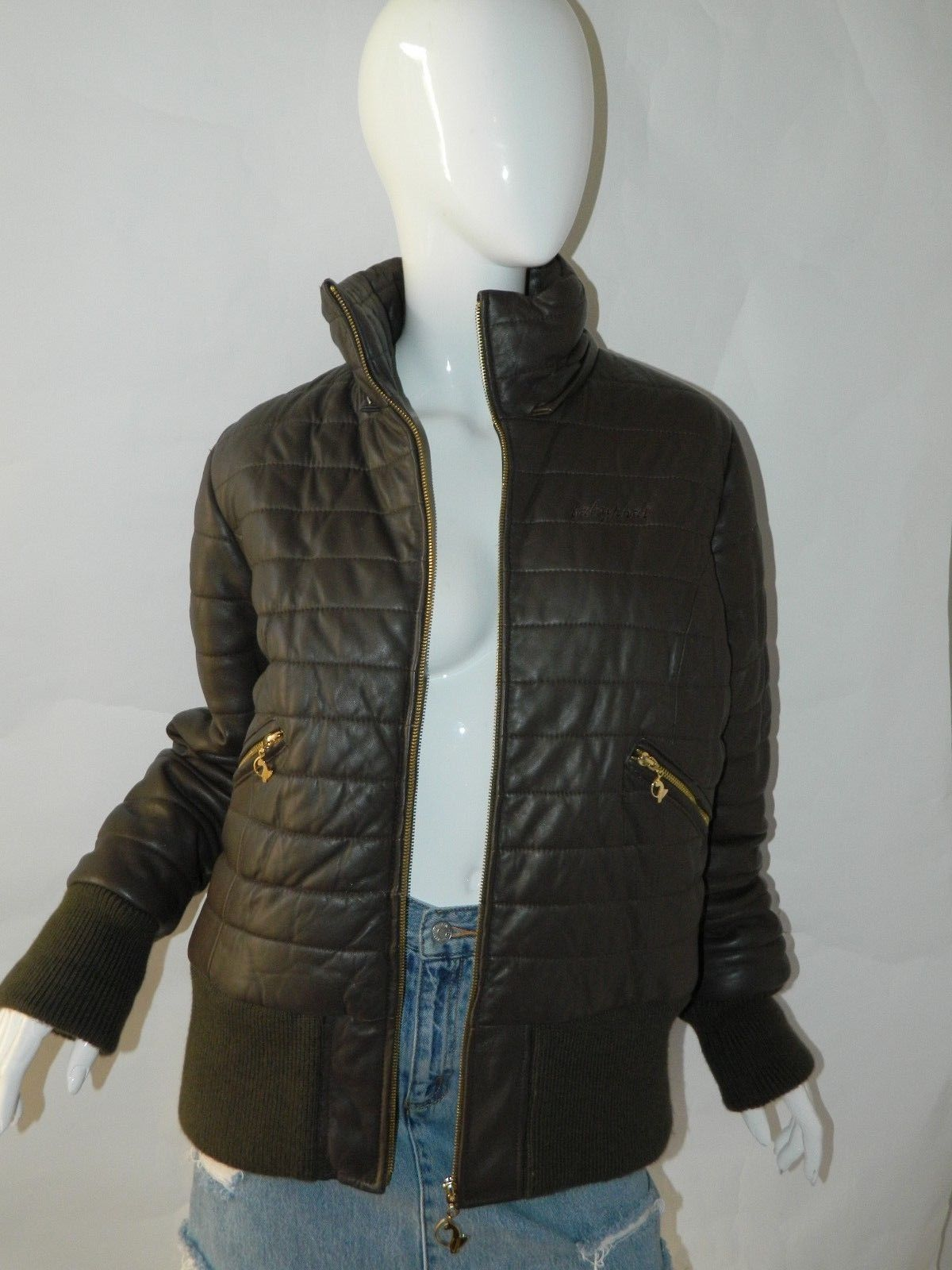 BABY PHAT Jacket Puffer Leather Kimora Lee Simmons Brown Coat XX-Large image 7