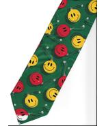 Christmas Smiley Face Necktie green novelty gag neck tie tree ornaments N2 - $15.77
