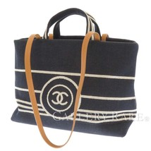 CHANEL Tote Bag Denim Canvas Calf Leather Navy White 2Way A92240 Italy A... - $1,870.20