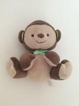 "Fisher Price Brown Tan Monkey W/ Green Bow 6"" Baby Plush Toy - $9.49"