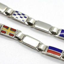Bracelet Silver 925, Flags Nautical Glazed Tiles Alternate, Long 18 cm, 5 MM image 3