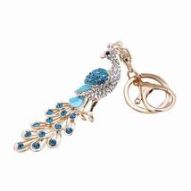 Peacock Keychain Fashion Colorful Rhinestone Key Ring Decor Handbag Pend... - $8.05
