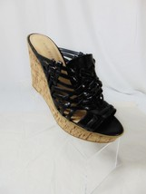 NINE WEST HerWay Platform Wedge Style Sandals Sz 8 M Black Strappy Peep Toe 0609 - $26.00