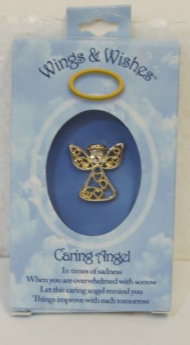 DM Merchandising Wings Wishes Caring Angel Silver Gold Colored Heart Designs